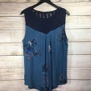 Lucky Brand Floral Lace Crochet Sleeveless Top